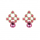 Fashionable Vintage Water-Drop Beads Earrings - Golden + Purple