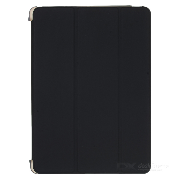 Protective Flip Open Three-fold PU + Plastic Wake-up / Sleep Case for Ipad AIR - Black