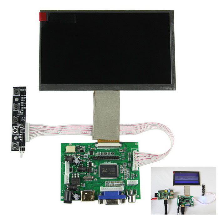 "7"" Digital Screen + Drive Board for Raspberry Pi, Pcduino, Cubieboard"