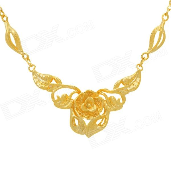 KCCHSTAR High-Quality Fine Copper Electroplating 24K Gold Flower Shape Pendan Necklace