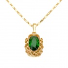 KCCHSTAR High-Quality Fine Copper Electroplating 24K Gold Emerald Crysta Pendan Necklace