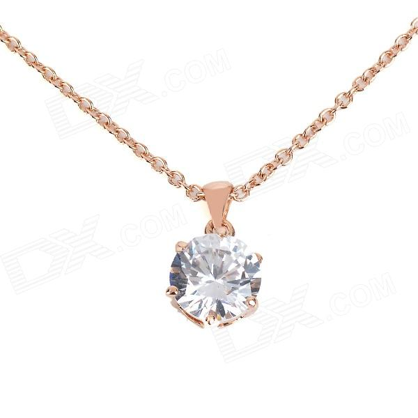 KCCHSTAR 18K Gold Plating Zinc Alloy Necklace w/ Artificial Diamond Pendant - Golden+ Transparent