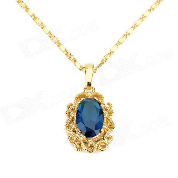 KCCHSTAR High-Quality Fine Copper Electroplating 24K Gold Sapphire Crystal Pendan Necklace kcchstar high quality fine copper electroplating 24k real gold thick necklace golden