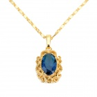 KCCHSTAR High-Quality Fine Copper Electroplating 24K Gold Sapphire Crystal Pendan Necklace
