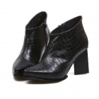 1554A British Fashion Wind Pointed Crocodile Grain Thick With Short Boots - Black (Size 39)