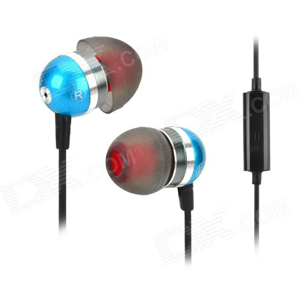 Jolly Roger E200 Stylish In-Ear Earphones w/ Microphone / Cable Control - Blue + Black