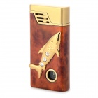 Rhinestone Fish Pattern Windproof Lighter w/ Green Light - Red + Brown