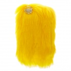 Keep Warm Back Case w/ Artificial Rabbit Hair for iPhone 4 / 4s - Yellow + White