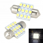 Merdia Festoon 31mm 3W 150lm 12 x SMD 3528 LED White Car Reading/ Backup/ Tail Light - (12V / 2 PCS)