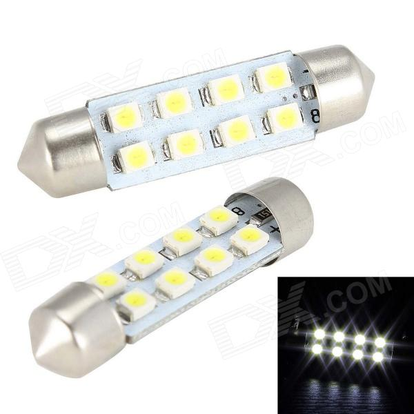 Merdia Festoon 41mm 4W 200lm 8 x SMD 1210 LED White Car Steering / Tail Light - (12V / 2 PCS) Hampton ads sell