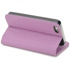 High Quality Protective Flip Open PU + Plastic Case w/ Stand / Card Slots for Iphone 5S - Purple
