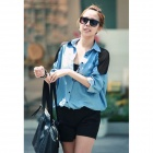 J1247 Chic Women's Long Sleeves Shirt Jeans Blouses - Blue