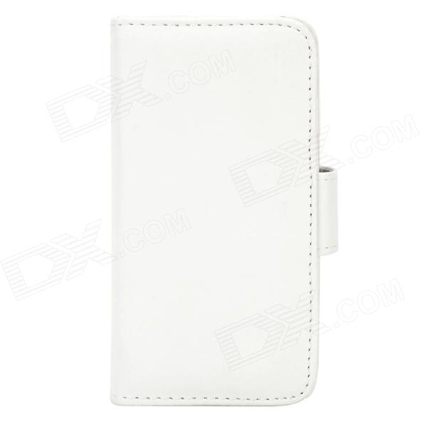 Protective PU Leather + Plastic Case w/ Card Slots for Iphone 5S - White highscreen аккумулятор для easy s easy s pro 2200 mah