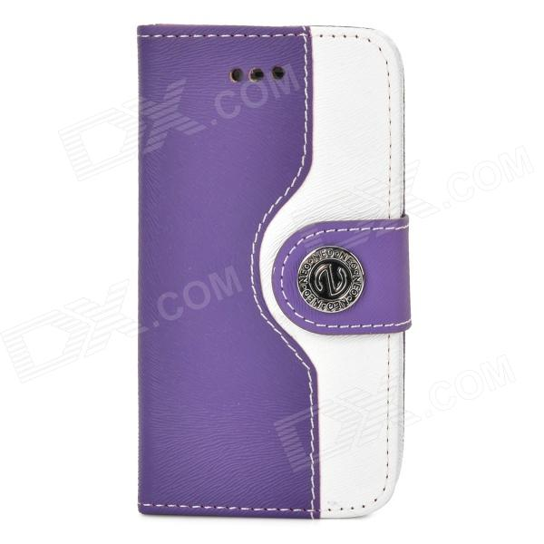 Protective PU Leather + Plastic Flip-open Case for Iphone 4 / 4s - White + Purple protective pu leather flip open case for iphone 4 4s black