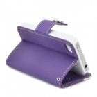 Protective PU Leather + Plastic Flip-open Case for Iphone 4 / 4s - White + Purple