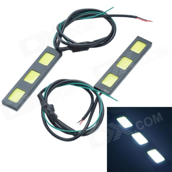 все цены на Waterproof DIY 13.5W 600lm 3-COB LED White Car Daytime Running Light - (12V / 2 PCS)