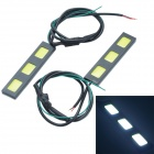 Waterproof DIY 13.5W 600lm 3-COB LED White Car Daytime Running Light - (12V / 2 PCS)
