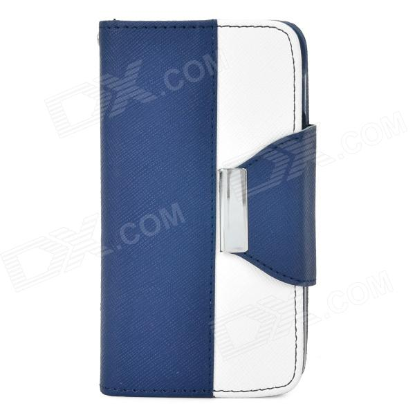 Stylish PU + Plastic Case w/ Card Slots / Stand / Strap for Iphone 4 / 4s - White + Deep Blue nillkin protective pu leather pc case cover for htc d316d d516t red