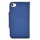Stylish PU + Plastic Case w/ Card Slots / Stand / Strap for Iphone 4 / 4s - White + Deep Blue