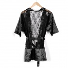 Sexy Lace Dacron Sleepwear Pajamas - Black