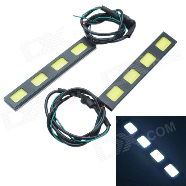 Waterproof DIY 24W 750lm 4-COB LED White Daytime Running Light - (12V / 2 PCS) led rear bumper warning lights car brake lamp cob running light led turn light for honda civic 2016 one pair