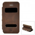 Protective PU Leather + Plastic Flip-open Case for Iphone 4 / 4s - Brown