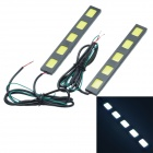 Waterproof 37.5W 4250lm 5-COB LED White Car Daytime Running Light - (12V / 2 PCS)