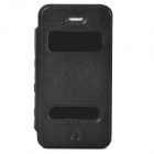 Protective PU Leather Flip-open Case for Iphone 4 / 4s - Black