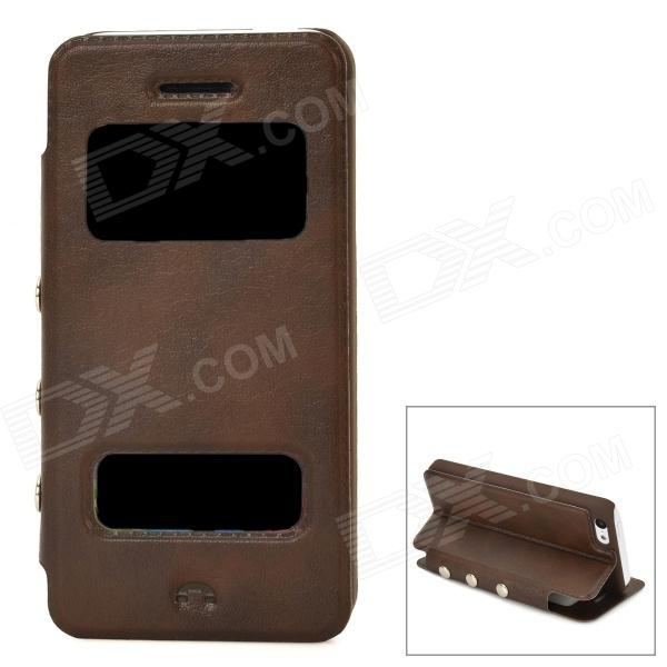 Protective PU Leather + Plastic Flip-open Case for Iphone 5C - Brown protective pu leather plastic flip open case for iphone 5 5s red