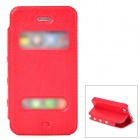 Stylish Flip-Open PU Leather + Plastic Case for Iphone 4 / 4s - Red