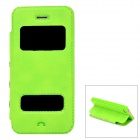 Stylish PU Leather + Plastic Flip-Open Case for Iphone 5 / 5s - Green
