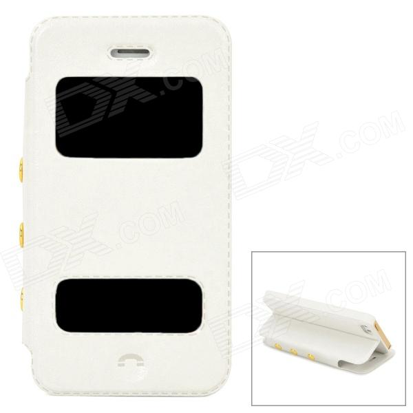 Protective PU Leather Flip-open Case for Iphone 5 / 5s - White omo protective pu leather flip open case for iphone 4 4s white