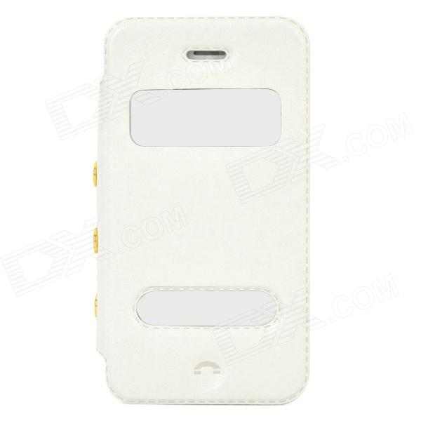 Stylish PU Leather + Plastic Flip-Open Case w/ Stand for Iphone 4 / 4s - White remax protective flip open pu leather case w visual window for iphone 4 4s white