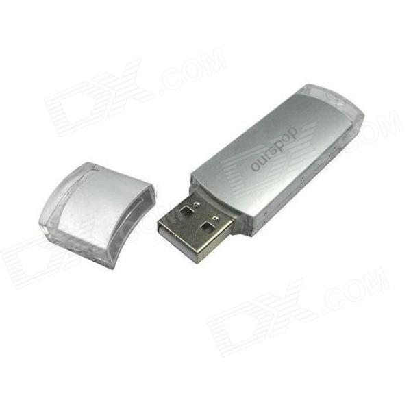 Ourspop U010-8GB Aluminium Alloy USB 2.0 USB Flash Drive - Silver + Transparent (8GB)