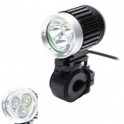 ZHISHUNJIS 3 x Cree XM-L T6 2400lm 4-Mode White Bicycle Light - Black + Silver (4 x 18650)