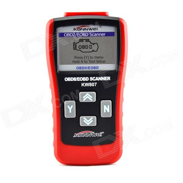 KW807 2.8 LCD OBDII / EOBD Car Diagnostic Auto Scanner - Red + Black ms509 artistic standard accurate maxiscan obdii eobd car scanner