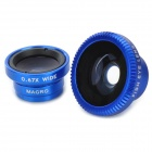 Universal 3-in 1 Fish Eye+ Macro Lens+ 0.67X Wide Angle Lens Set for Iphone + Samsung - Deep Blue