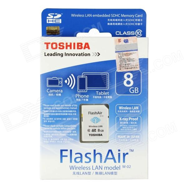 Toshiba FlashAir Wireless LAN W-02 SDHC Memory Card - White (8GB / Class10)