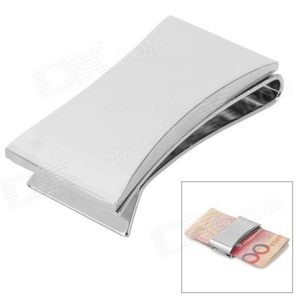 Fashion Stainless Steel Slim Money Clip - Silver qoong stainless steel slim third sided men women metal money clip wallet credit card money holder bill steel clip clamp ml1 005