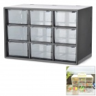 Mini 9-Drawer PP-Speicher-Fall - Transparent + Schwarz