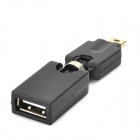 DD-05 360 Degree Mini 5pin uros USB 2.0 naaras adapteri - Musta