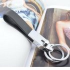 TY-26 PU Leather + Zinc Alloy Dual Rings Keychain - Black + Silver