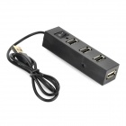 Mini 480Mbps USB 2.0 4-Port Hub w/ Switch / Indicator - Black