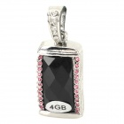 Keyring Zinc Alloy + Rhinestones USB 2.0 Flash Drive - Black + Silver + Pink (4GB)