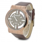 BARIHO A371 Hollow Dial Leather Watchband Quartz Watch - Coffee (1 x 626)