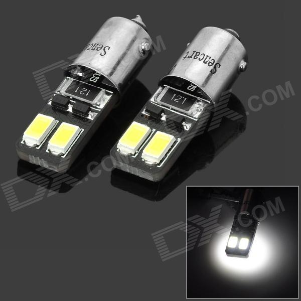 SENCART BA9S 1.5W 27lm 6000K 4-5730 SMD LED White Car Lamps - Black + Silver + Yellow (2 PCS)