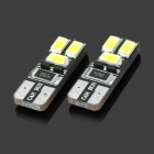 SENCART T10 1.6W 28lm 6000K 6-5730 SMD LED White Car Lamps - Black + Yellow (2 PCS / 12~16V)
