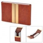 Z052 Fashion Lichee Pattern Double Sided PU Leather Card Holder - Rufous