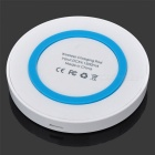 Round Style Wireless Charger w/ Anti-slip Ring - White + Light Blue (5V)