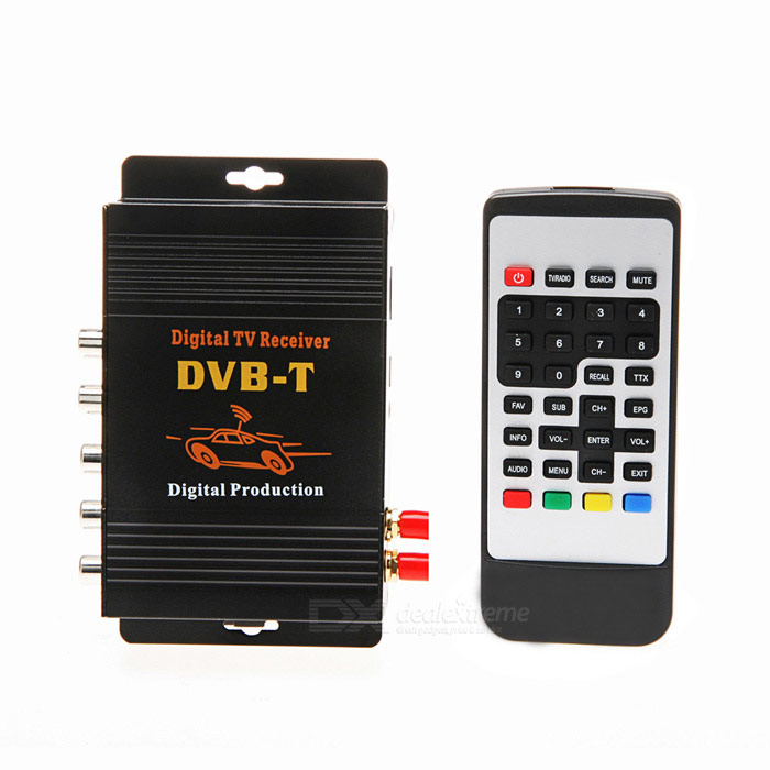 M-618 DVB-T Dual-Antenna Car Digital Set-top Box / TV Receiver Set w/ Remote Control - Black dvb t rf coaxial to mcx tv antenna connector black 22cm cable